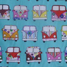 Sew Scrumptious Fabrics - VW Camper Vans (Mint), £1.75 (http://www.sewscrumptious.co.uk/vw-camper-vans-mint/)