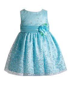 Look what I found on #zulily! Youngland Blue Rosette Dress - Infant & Toddler by Youngland #zulilyfinds