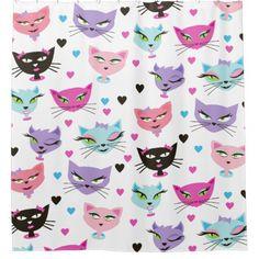 50s Retro Kitty Sexy Cat Bathroom Shower Curtain