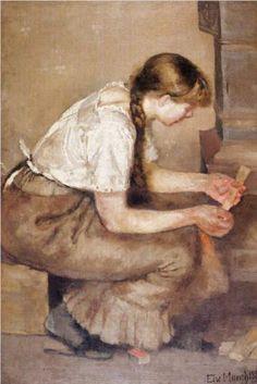 Girl Kindling a Stove - Edvard Munch