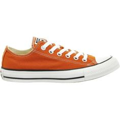 CONVERSE All Star low-top canvas trainers ($69) ❤ liked on Polyvore featuring shoes, sneakers, red, canvas lace up sneakers, round toe shoes, converse trainers, round cap and red canvas sneakers