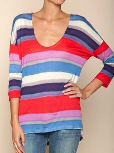 Beautiful watercolor stripe top with 3/4 sleeve from Splendid.