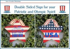 Create a double-sided sign to show off your Patriotic and Olympic Spirit. Designed by Sue's Creative Workshop www.sueeldred.com Wood Stars, Boxwood Wreath, Paint Line, White Acrylic Paint, Creative Workshop, Vinyl Crafts, Decoration, Olympics, 4th Of July