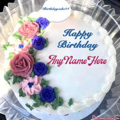 Name On Cake: Lovely Flowers Birthday Cake With Name Online Birthday Wishes Cake, Birthday Cake With Flowers, Flower Birthday, Happy Birthday Pictures, Happy Birthday Fun, Cake Templates, Cake Name, Pasta, 100 Free