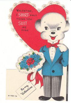 Dressed Bear with Bouquet Vintage Valentine Die-Cut Card for Children Unused by…
