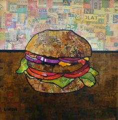The Burger by Linda Bell, Acrylic Collage on Canvas, x Artwork For Home, Torn Paper, Collage Artists, Pottery Making, Assemblage Art, Painted Paper, Handmade Pottery, Art Projects, Contemporary Art