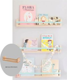 Love this clever DIY! Use ikea spice racks to make pretty book shelves