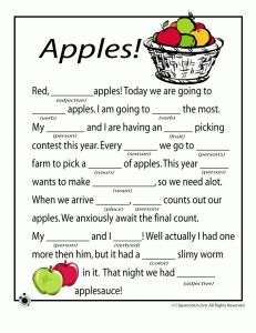 Mad Libs-Parts of Speech! Three fall mad libs to choose from! Kids love these! Speech Therapy Activities, Language Activities, Writing Activities, Kids Writing, Writing Ideas, Apple Classroom, Classroom Ideas, Library Center, Apple Unit