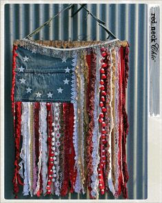 Handmade Denim, Flowing Ribbons & Lace Flag * She's a Grand Old Flag * USA Proud * Red, White & Blue * DIY Wall Hanging Craft Inspiration * of July Fab * Perfect use for vintage denim, fabrics, ri Americana Crafts, Patriotic Crafts, July Crafts, Holiday Crafts, Wall Hanging Crafts, 4th Of July Decorations, Doorway Decorations, Holiday Decorations, Flag Art