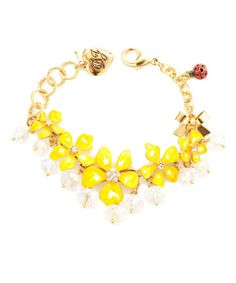 BJ YELLOW FLOWER BEAD TOGGLE BRACELET