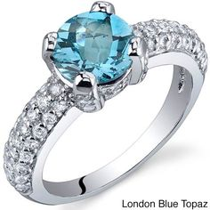 Oravo Sterling Silver Round Solitaire Gemstone Cubic Zirconia Ring (London Blue Topaz Size 5), Women's