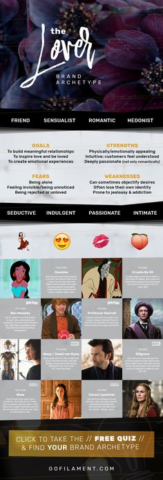The Lover // Brand Archetypes // The Lover is also called the Enthusiast, Sensualist, Partner, Friend, Romantic, or Hedonist. Lover brands strive for community & connection by promoting intimacy & passion. They're usually known for their intimacy, seduction, passion, gratitude, and pleasure seeking, so their customers always feel like they love & desire the brand experience. // Find your Brand Archetype now at gofilament.com/what-the-eff-is-a-brand-archetype