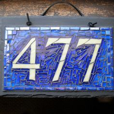 Custom Mosaic House Number 477 by Nutmeg Designs. Mosaic Crafts, Mosaic Art, Mosaic Glass, Mosaic Tiles, Stained Glass, Glass Art, House Plaques, House Number Plaque, House Numbers