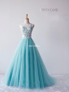 <3 Pricess prom ball gown #prom2k15 #prom2k16 Blue Tulle Ball Gown Floor length Prom Dress - pinkyprom.uk
