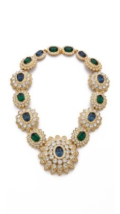 Kenneth Jay Lane Crystal Emerald Statement Necklace