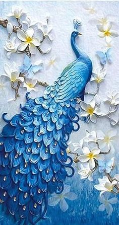 Awayyang Lucky bird DIY Crystals Paint Kit Diamond Painting By Number Kits,Peacock and flower Peacock Wall Art, Peacock Painting, Peacock Decor, Peacock Butterfly, Peacock Wallpaper, Peacock Design, Peacock Blue, Peacock Quilling, Lotus Painting