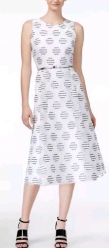 418f345fa35ec4 NWT CALVIN KLEIN BELTED POLKA-DOT MIDI DRESS WHITE MULTI SIZE 8 MSRP  170  Retro