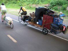 So funny. The guy must have some kind of muscles! Work Trailer, Bike Trailer, Trailer Hitch, Bike Wagon, Bike Cart, Velo Cargo, Bike Pedals, Commuter Bike, Fat Bike