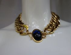 c58b29eebee Vintage YSL Yves Saint Laurent Wide Gilt Link Choker with Large Oval Blue  Cabochon