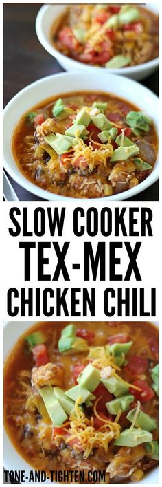 Slow Cooker Tex-Mex Chicken Chili on http://Tone-and-Tighten.com