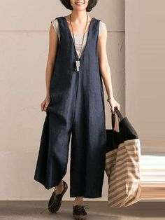 5d8cebf6a65 Navy Blue Pockets V-Neck Casual Plus Size Linen Jumpsuits