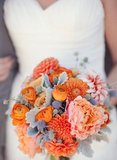 orange and grey wedding.. dunno if i love orange but bright color and grey is beautiful for grey bridesmaids dresses