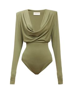 Green Top Outfit, Body Suit Outfits, Body Suits, Low Waist Jeans, Alexandre Vauthier, Cowl Neck Top, Stylish Outfits, Work Outfits, Travel