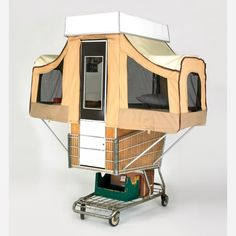 Camper Kart is a Tiny Home That Pops Out of a Shopping Cart… Shopping car tent trailer…er, tent shopping cart? Mobile Architecture, Architecture Design, Folding Campers, Car Tent, Pop Up Tent, Pop Out, Tent Wedding, Vintage Trailers, Tiny Trailers