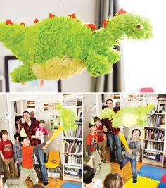 Dinosaur party pinata - Find more Dinosaur Party Ideas at http://www.birthdayinabox.com/party-ideas/guides.asp?bgs=16