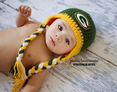 crochet green bay packer baby hat | Crochet Green Bay Packers Hat by ALotofLoops on Etsy