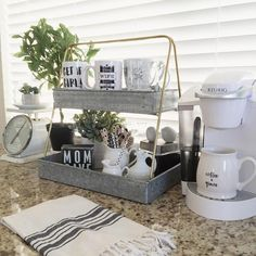 Coffee Bar Ideas - Looking for some coffee bar ideas? Here you'll find home coffee bar, DIY coffee bar, and kitchen coffee station. Kitchen Decor, Farmhouse Style Kitchen, Coffee Bar Home, Farmhouse Coffee Table Decor, Decor, Bars For Home, Galvanized Decor, Coffee Kitchen, Home Decor