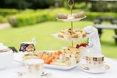 Traditional Afternoon Tea in the summer sunshine at Ye Olde Bell Hotel & Restaurant, Barnby Moor.