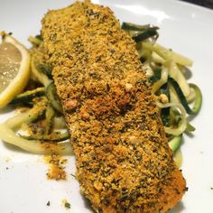 Gluten-free, Dairy-free, Paleo and Whole30 - CURRY CRUSTED SALMON WITH ZESTY ZOODLES. I've only recently started cooking with coconut flour and I honestly can't believe I went this long without using it, it's fab!