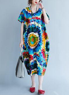 b06ee56cf06 Summer Plus Size Women Dress Colorful Pattern Floral Print Linen V-Neck Female  Casual Vestidos Large Maxi Vintage New Dresses - serenityboutique
