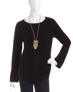 Long-Sleeve Knit Top, Black by Neiman Marcus at Last Call by Neiman Marcus. Looks so cozy!