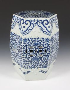 A Chinese blue and white garden seat