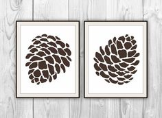 Pinecones - Set of 2 Art Prints - Botanical Pine Cone Silhouette Plant Art - other colors & sizes available