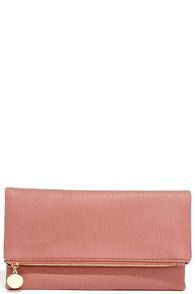Chic Mauve Pink Clutch - Fold Over Clutch - Vegan Leather Clutch - $28.00