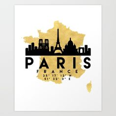 PARIS FRANCE SILHOUETTE SKYLINE MAP ART - The beautiful silhouette skyline of Paris and the great map of France in gold, with the exact coordinates of Paris make up this amazing art piece. A great gift for anybody that has love for this city. Contact me: digital@deificusart.com graphic-design digital typography illustration vector paris france downtown silhouette skyline map coordinates souvenir gold deificus-art