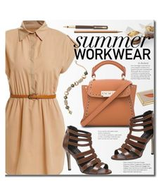 """""""Summer Work Wear - Shirt Dress"""" by beebeely-look ❤ liked on Polyvore featuring Faber-Castell, Parker, ZAC Zac Posen, Kate Spade, WorkWear, shirtdress, summersandals and twinkledeals"""
