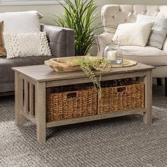 Coffee Table With Baskets, Wicker Coffee Table, Coffee And End Tables, Coffee Table With Storage, Decorating Coffee Tables, Beachy Coffee Table, Storage Benches, Wicker Trunk, Table Decor Living Room