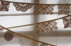 handmade wedding ideas reception decor bunting banners vintage lace... possibly paper or other fabric cut outs cheaper than straight up lace!