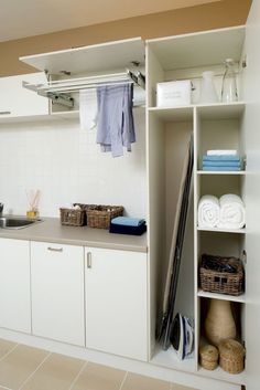Trending Easy and Effective Small Bathroom Organization Ideas – Effective small bathroom organization ideas will not only improve the practicality of your bathroom but it will also enhance the entire bathroom looks. Laundry Cupboard, Laundry Room Storage, Laundry In Bathroom, Utility Cupboard, Drying Cupboard, Laundry Area, Clothes Storage, Laundry Rooms, Cleaning Cupboard