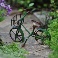 Mini Bicycle, Green for Miniature Garden, Fairy Garden My Fairy Garden, Lawn And Garden, Fairy Gardening, Organic Gardening, Green Fairy, Garden Fun, Garden Ideas, Tire Garden, Wheelbarrow Garden