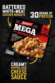 Packed with tender, white-meat chicken and coated with a spicy pepper jack sauce, Banquet MEGA Chicken Jalapeño Bowl is a quick and easy chicken dinner recipe that doesn't hold back on flavor. Crush your cravings with of protein. Now that's MEGA. The Cream, Salad Recipes Low Carb, Keto Recipes, Steak Recipes, Custard Recipes, Ice Cream Recipes, Keto Friendly Desserts, Low Carb Desserts