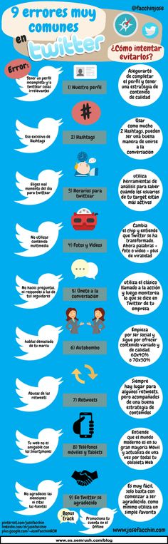 9 ERRORES EN TWITTER Y CÓMO EVITARLOS #INFOGRAFIA #INFOGRAPHIC #SOCIALMEDIA