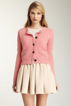 Super cute but that dress is far too short for me! -- Olive and Orange by Orla Kiely Textured Honeycomb Jacket.