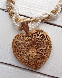 Miriam Haskell Pearl Russian Gold Brass Heart Necklace Filled with loose tiny seed pearls!