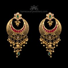 Mesmerizing collection of gold earrings from Kameswari Jewellers. Shop for designer gold earrings, traditional diamond earrings and bridal earrings collections online. Gold Earrings Designs, Gold Diamond Earrings, Gold Jewellery Design, Gold Jewelry, Earings Gold, Diamond Jewelry, Fine Jewelry, Buy Earrings, Antique Earrings