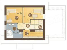 Rzut poddasza projektu Florek z garażem 1-st. [A] Floor Plans, How To Plan, Villas, House, Furniture, Home, Mansions, Haus, Villa